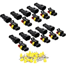SMILERACING 380PCS 2 3 4 6 Pin Wire Automotive Connector Male Female Cable Terminal Plug Kit for Cars Motorcycles Boat Snowmobile Tricycle ATVs Cable Up to 2.0mm