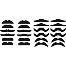 LERORO 24 PCS Fake Mustaches,Mustache Party,Mustache for Masquerade Party and Performance Black
