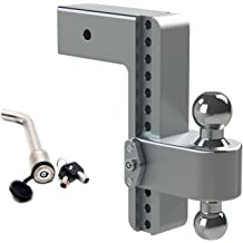 Weigh Safe 180 HITCH CTB4-2-KA 4 Drop Hitch 2 Receiver 12,500 LBS GTW Keyed Alike Key Lock and Hitch Pin Adjustable Aluminum Trailer Hitch Ball Mount /& Chrome Plated Combo Ball