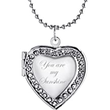 Modogirl Locket Necklace That Holds Pictures Embossed Flower Heart Shape Pendant Gold Plated Jewelry