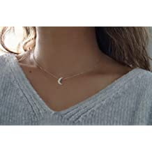 Sterling Silver Womens 1mm Fantasy Waning Waxing Crescent Shape Moon Face Stars Pendant Necklace