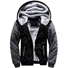 EISHOW Mens Fleece Winter Jacket Thicken Cotton Detached Casual Coat Turn-Down Collar Medium Length Warm Outerwear