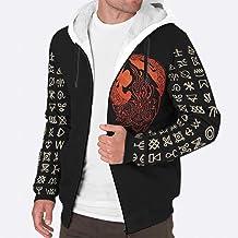 Sheeouis Mens Long Sleeve Zipper Viking Wolf Printing Fleece Sherpa Sweatshirt Warm Thick Lined Hoodie Coats with Pockets White 3XL