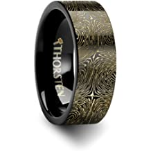 Thorsten Howling Wolf at Moon on Mountain Range Scene Print Pattern Ring Polished Tungsten Ring 8mm Wide Wedding Band from Roy Rose Jewelry