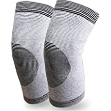 Happyupcity 1 Pair Gray Light and Thin Bamboo Charcoal Fiber Knees Warmer Sports Elastic Knee Pads Leg Support Brace Outdoor Sports Air-Conditioned Room Thermal Unisex Kneecap Protector