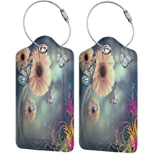 Waterproof luggage tag Fall Trees Abstract Decorations Landscape Theme Art Print Bathroom Decor Soft to the touch es W2.7 x L4.6