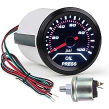 HOUTBY 52mm Car Universal Smoke Tint Len Oil Press Pressure Indicator Gauge Meter White Light