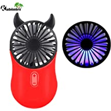 for Indoor Or Outdoor Activities Portable Holder Devil Horn 2 Pack 3 Adjustable Speeds Kbinter Cute Personal Mini Fan Red+Blue Handheld /& Portable USB Rechargeable Fan with Pretty LED Light