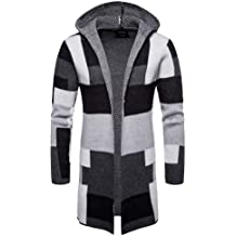 a573d8798a4ca Realdo Mens Plaid Trench Cardigan Clearance Sale,Casual Business Solid  Hooded Knit Patchwork Long Coat