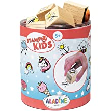 Washable Ink Children`s Stamp Kit Box of Stamps Large Inker Included Aladine Stampo Minos Capital Alphabet Manual Activities Girl and Boy Toys and Creative Games From 4 years