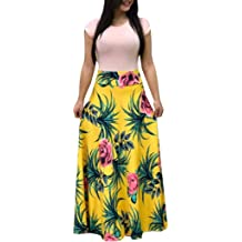 bf95a2785f9a3 Ulanda Elegant Women's Maxi Dress Floral Printed Autumn Long Sleeves  Casual Tunic