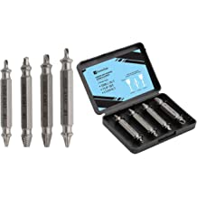 Hardness is 63-65HRC Womdee Double-Head Broken//Damaged Screw Extractor Kit /& Bolt Extractor Set Set of 4 Remover for Damaged Stripped Head Screws