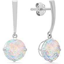 8mm Certified 14k White or Yellow Gold Solitaire Round-Cut Gemstone Drop Earrings