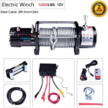 OCPTY Winches Waterproof Offroad 2500 lbs Load 12V Electric Winch with Remote Controller//Control Box//4-Way Roller Fairlead//Mounting Plate//Set of Bolts for UTV//ATV//Off Road