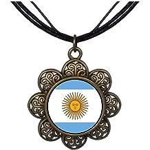 GiftJewelryShop Bronze Retro Style Argentina Flag Photo Flower Stud Earrings 14mm Diameter