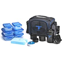 74f397c37b ThinkFit Insulated Lunch Boxes with 6 Portion Control Containers, Reusable  Ice Pack, Pill Box, Shaker Cup, Shoulder Strap and Extra Storage .