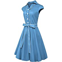 Anewsex Fashion Womens Cover Sleeves Retro Party Dress Multicolor