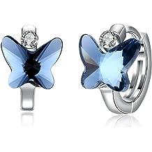 cc6741d1dbf34b Sterling Silver Butterfly Small Hoop Earrings for Women Teen Girls  Hypoallergenic Little Butterfly Stud Earrings Made with Swarovski Crystals,  .