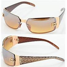 f09d89202a3d New DG Women Fashion Designer Sunglasses Shades Rectangular Wrap Gold Brown  5024