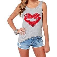 654678ebfb43 OPTIMIS Women Tank Tops Leaf Print Sleeveless Vest Loose Crop T-Shirt Cute  Loose Blouse