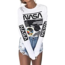 982da988 Ezcosplay Crew Neck Long Sleeve Letter Printed Shirt Graphic Tee Tops for  Women