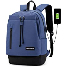 Yomiafy Couple School Bag Solid Color Nylon Backpack Travel Shoulder Bag for Men Women