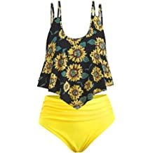 f58ec806695ff Sttech1 Swimsuits for Women Two Pieces Bathing Suits Top Ruffled Racerback  with High Waisted Bottom Set
