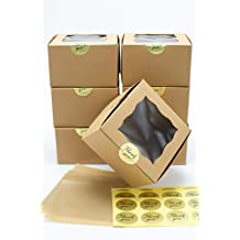 cakes Technilyx Bakery boxes with window 8x8x2.5 muffins. pastries 25 PACK Brown Paperboard Auto-Popup really easy to assemble.Extra Thick and Sturdy perfect for cookies donuts