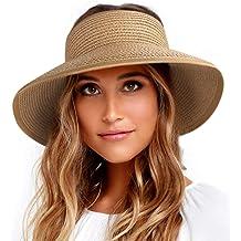b4c6d1ed Sun Visor Hats for Women Wide Brim Straw Roll Up Ponytail Summer Beach Hat  UV UPF