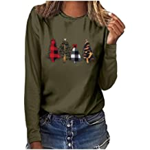 Wadonerful T-Shirts Women Christmas Pattern Print O Neck Long Sleeve Loose Blouse Plus Size Sweatshirt Party Pullover