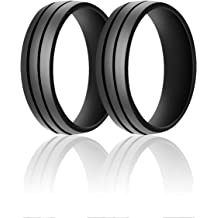SANXIULY Mens Silicone Wedding Ring/&Rubber Wedding Bands for Workout and Active Athletes Width 8mm