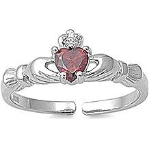 Fleur De Lis Simulated Garnet .925 Sterling Silver Toe Ring