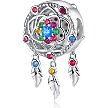 a8a64f539 FOREVER QUEEN Dream Catcher Charm fit Charms Bracelet 925 Sterling Silver  Feathers Tassel Bead Charm with Colorful Stones Pendant for European .