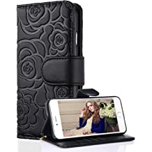 5.8 inch,Released in 2017 ,Wallet Case for Women and Girls with Card Holder, Embossed Flower FLYEE Case Compatible with Galaxy S8 Premium Flip PU Leather Protective Case with Wrist Strap -Beige
