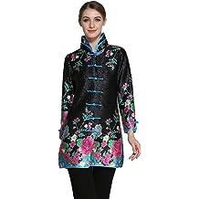 0658138e4 Bitablue Womens Bubble Crinkle Fabric Flower Print Chinese Long Shirt