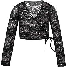inlzdz Kids Girls Long Sleeve Tie Knot Sweater Cardigan Ballet Leotard Shrug Wrap Top