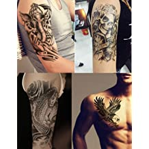 e94fbc899 Dalin 4 Sheets Temporary Tattoos, Warrior Elephant, Dead Skull, Koi Fish,  Eagle
