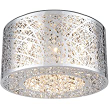 20W Max. ET2 E22772-91PC Fizz IV 4-Light LED Flush Mount Bubble Glass PCB LED Bulb Standard Dimmable Dry Safety Rated 2900K Color Temp. Polished Chrome Finish Glass Shade Material 1150 Rated Lumens Maxim Lighting