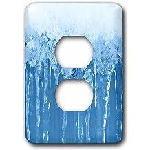 3dRose lsp/_274834/_6 Silver Shimmering Rhinestones On Blue Grey Background Plug Outlet Cover