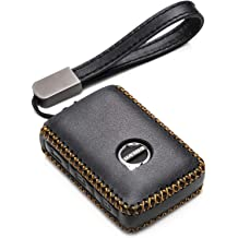 Malibu Cruze Sonic 4-Button, Brown Vitodeco Genuine Leather Flip Key Fob Case Cover Protector with Key Chain for Chevrolet Camaro Impala Equinox