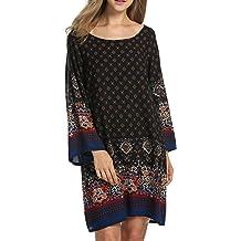 Hotouch Women Shift Dress Bohe Ethnic Style Boat Neck Vintage Printed Bohemian Dresses Plus Size M-3XL