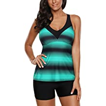 ded8cf0bcd Aleumdr Womens Racerback Color Block Print Tankini Swimsuits with Swim  Capris S-XXXL