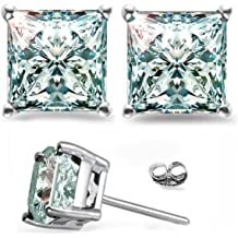 RINGJEWEL 2.82ct Si1 Princess Cut Solitaire Silver Plated Real Moissanite Earrings green Stud