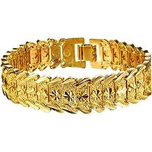 67f6acfce OPK Jewelry Men's Fashion 18k Yellow Gold Plated Link Bracelet Carving  Bangle