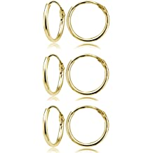 c050cedb9 Yellow Gold Flashed Sterling Silver Small Endless 10mm Round Unisex Hoop  Earrings, Set of 3