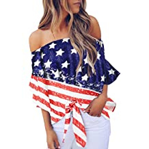 15c673ed981 Asvivid Women's Striped Off Shoulder Bell Sleeve Shirt Tie Knot Casual  Blouses