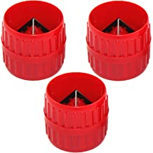Kukiwhy 3 Pieces Red Inner-Outer Reamer Pipe and Tube Deburring Reamer Tubing Chamfer Tool for PVC PPR Copper Brass Aluminum Pipes