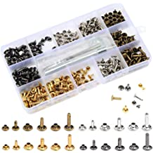 Rivets Replacement,3 Colors 300 Set 2 Sizes Leather Rivets Double Cap Rivet Tubular Metal Studs with 4 Pieces Fixing Tool for DIY Leather Craft