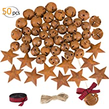 1.18 inch and 1.38 inch Llxieym Christmas Jingle Bells 40 Pieces Bronze Christmas Craft Bells with Jute Twine for Christmas Decorations