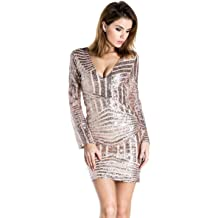 eed514e04525 Miss ord Women's V Neck Long Sleeve Sequined Cocktail Mini Dress